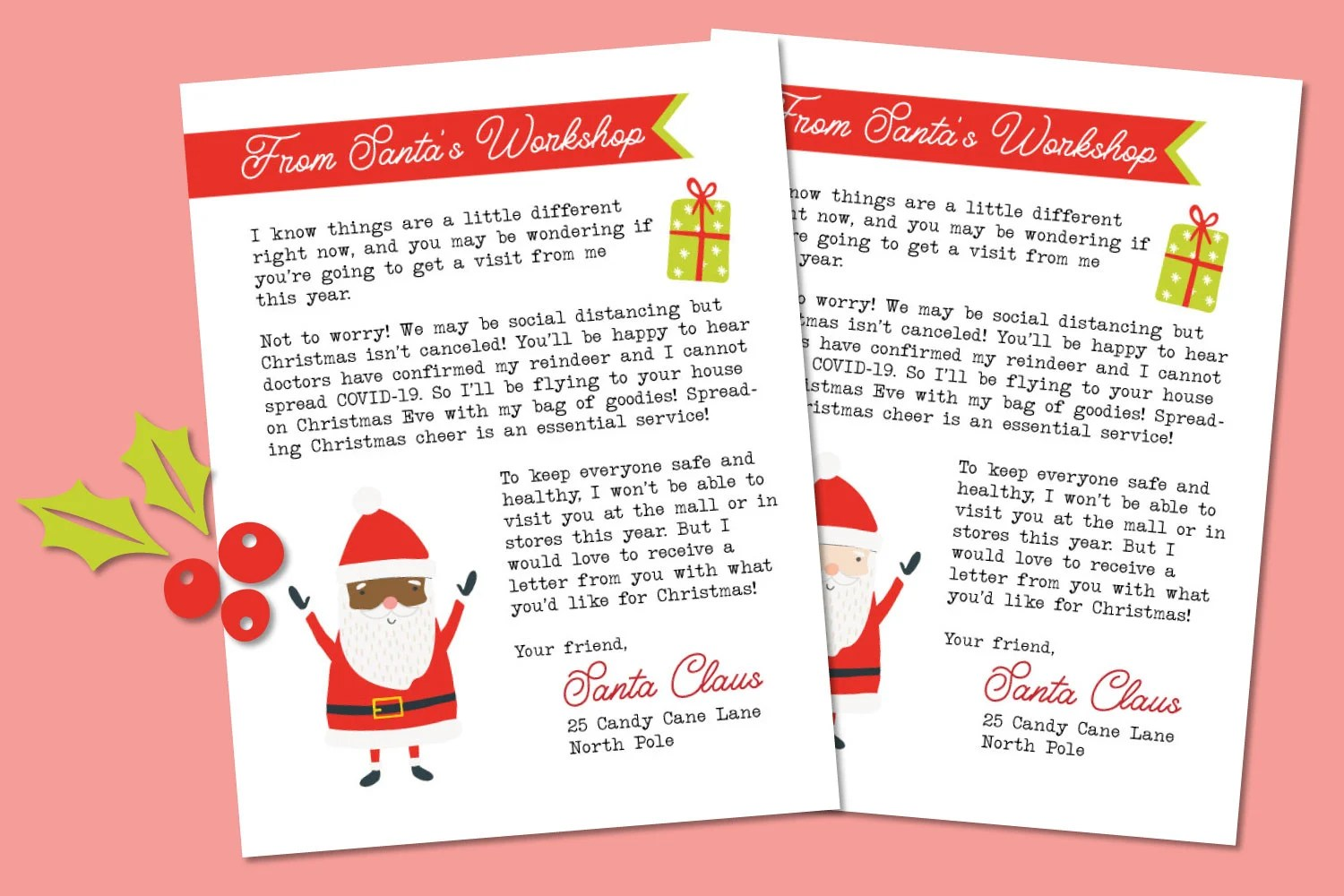 Letter from Santa on a pink background