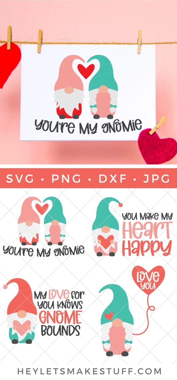 Valentine's Day Gnome SVG Bundle Pin image