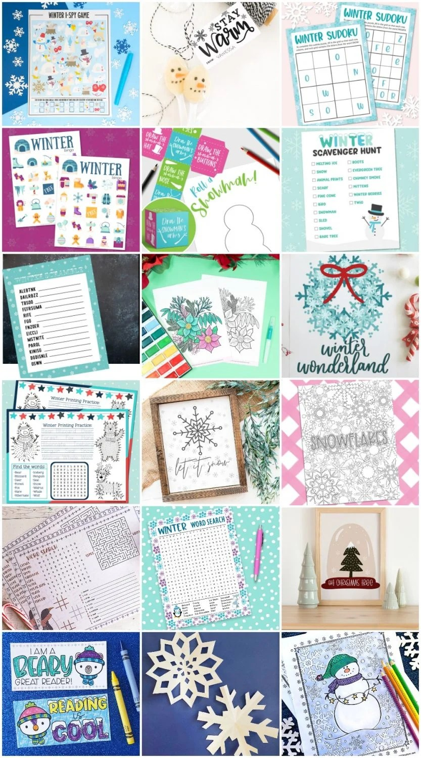 Winter Printables - Collage of all printables