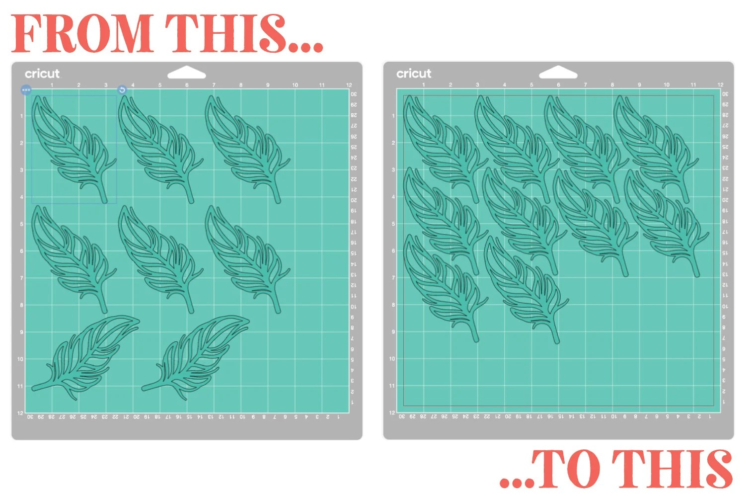 Screenshot showing feathers on original mat to feathers more nested on new mat.