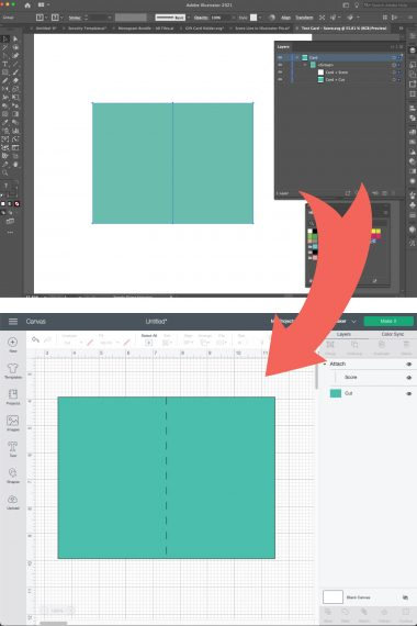 Screenshots of Illustrator and Design Space showing scored image