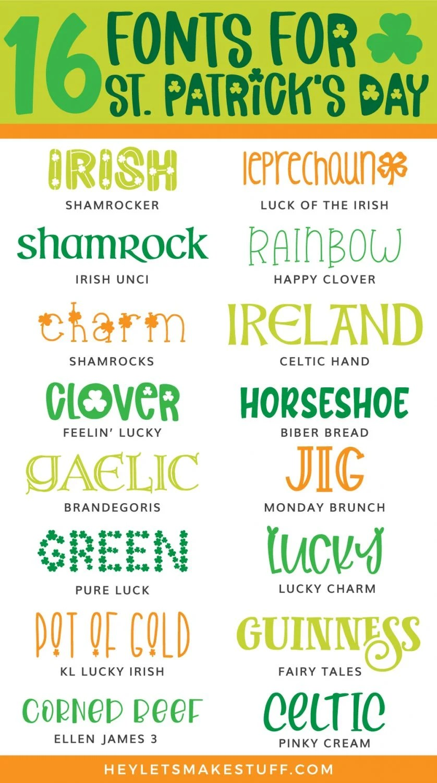 St. Patrick's Day Fonts Pin Image