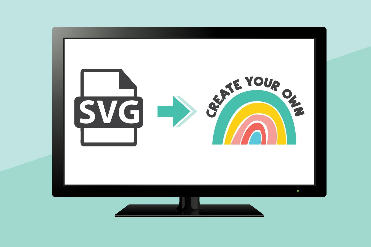 Mockup of computer with SVG icon and SVG thumbnail