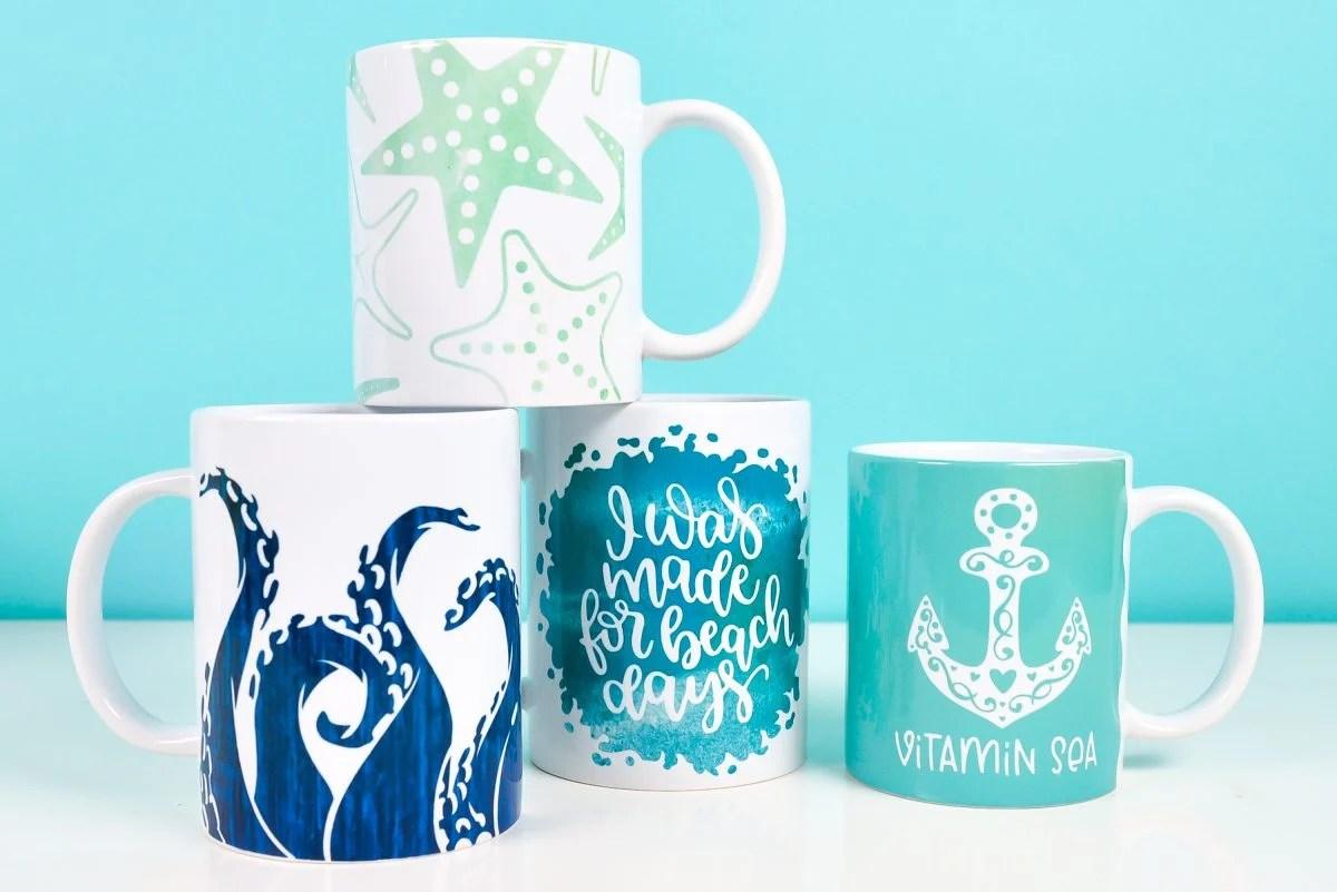 Four sea-themed mugs