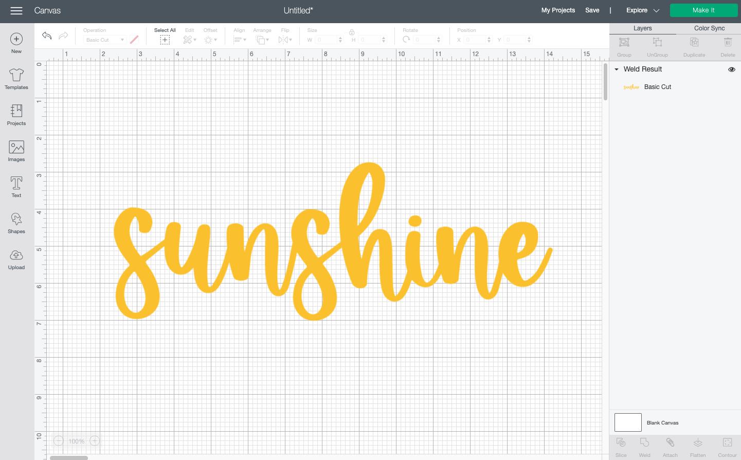 "Cricut Design Space: ""Sunshine"" in yellow script text, the font is ""Festive."""