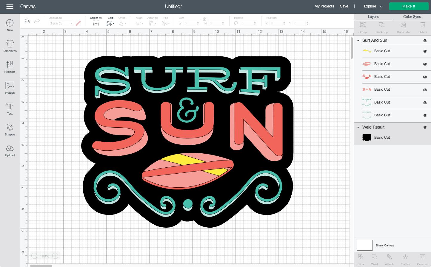 Cricut Design Space: Final surf and sun image