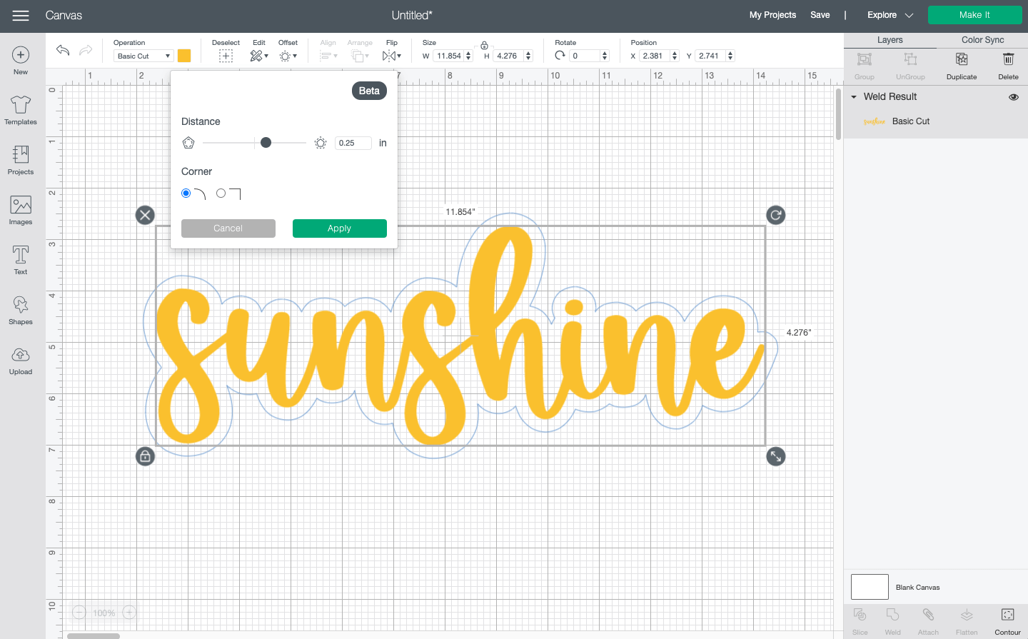 """Cricut Design Space: Showing offset around the word """"sunshine"""""""