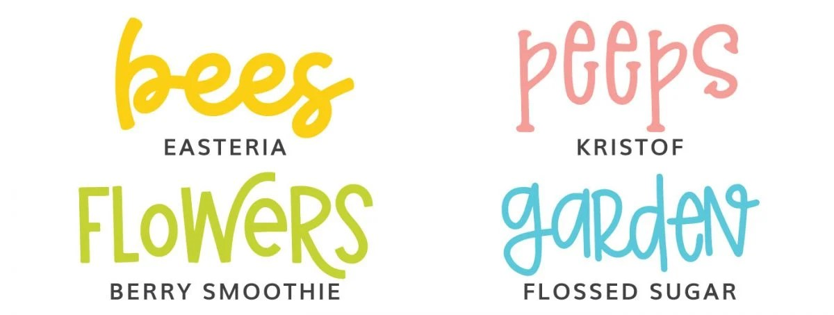 Fonts: Easteria, Kristof, Berry Smoothie, Flossed Sugar