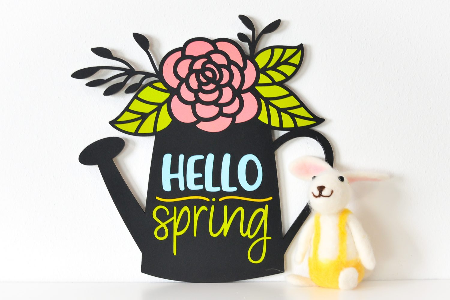 Hello Spring Sign staged with bunny