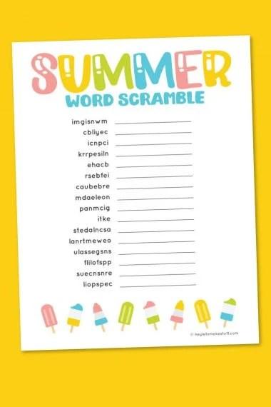 Summer word scramble on yellow background