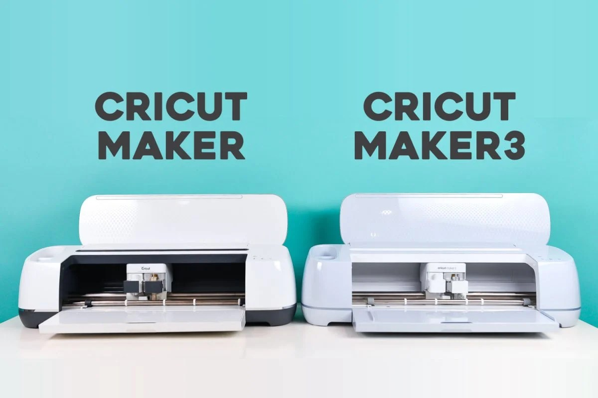 Cricut Maker + Cricut Maker 3 on a table with teal background