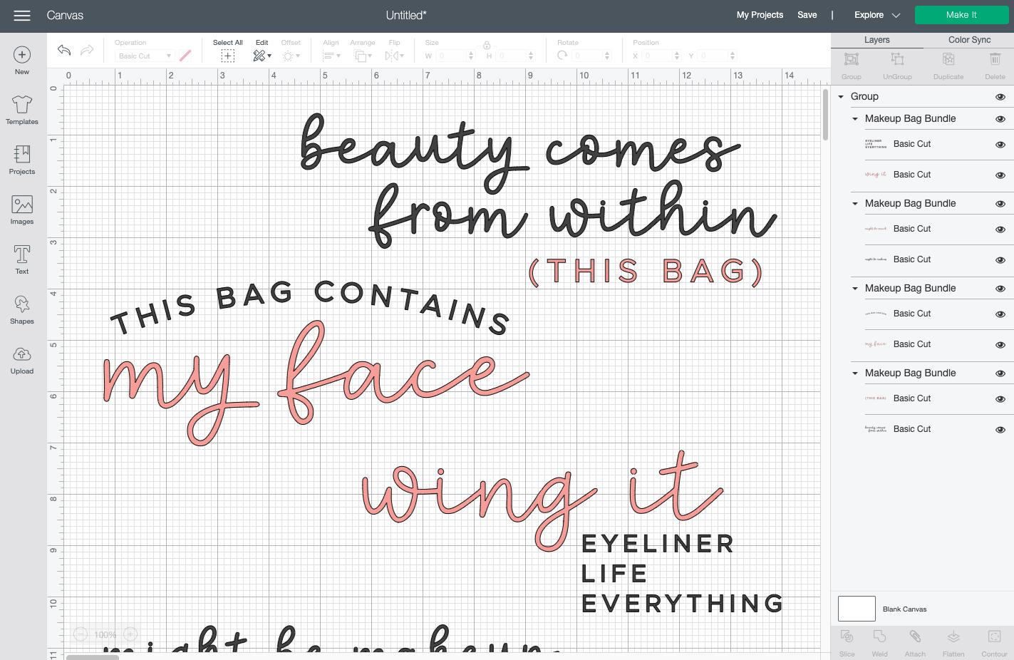 Cricut Design Space: four makeup bag SVGs uploaded to Canvas