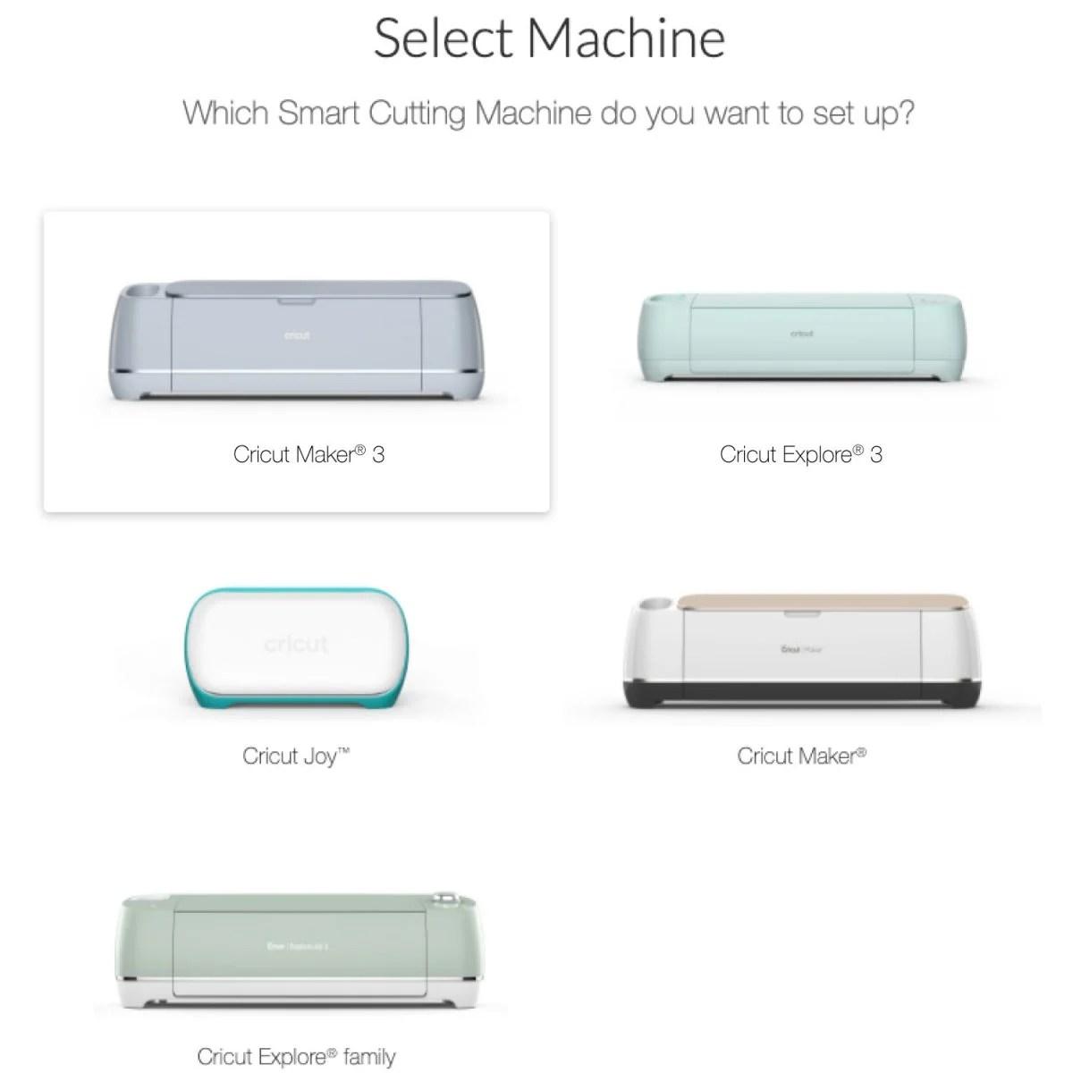 Screenshot of Cricut Design Space showing new machine setup screen