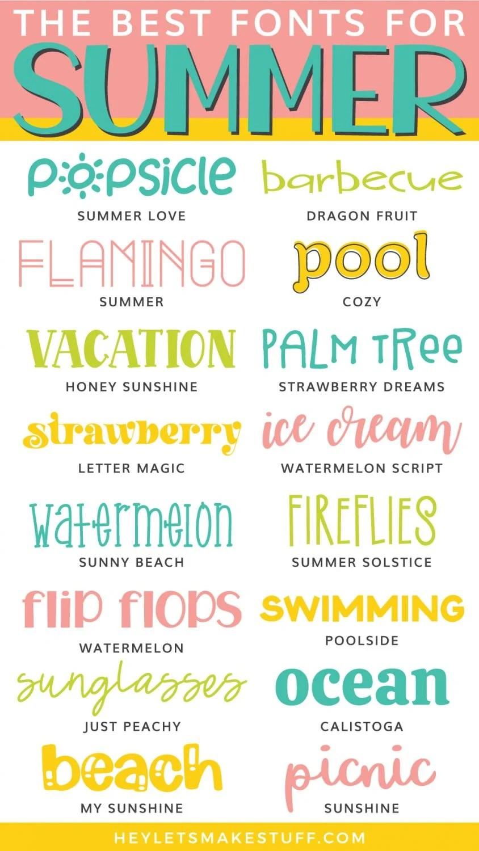 Free and Cheap Summer Fonts Pin Image
