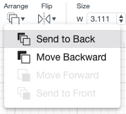 Closeup of Send to Back function