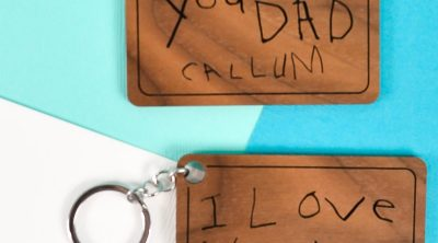 Preserve your child's sweet handwriting in wood or metal! Learn how to digitize and engrave a child's handwriting using a Glowforge to make keychains, plaques, jewelry and more!