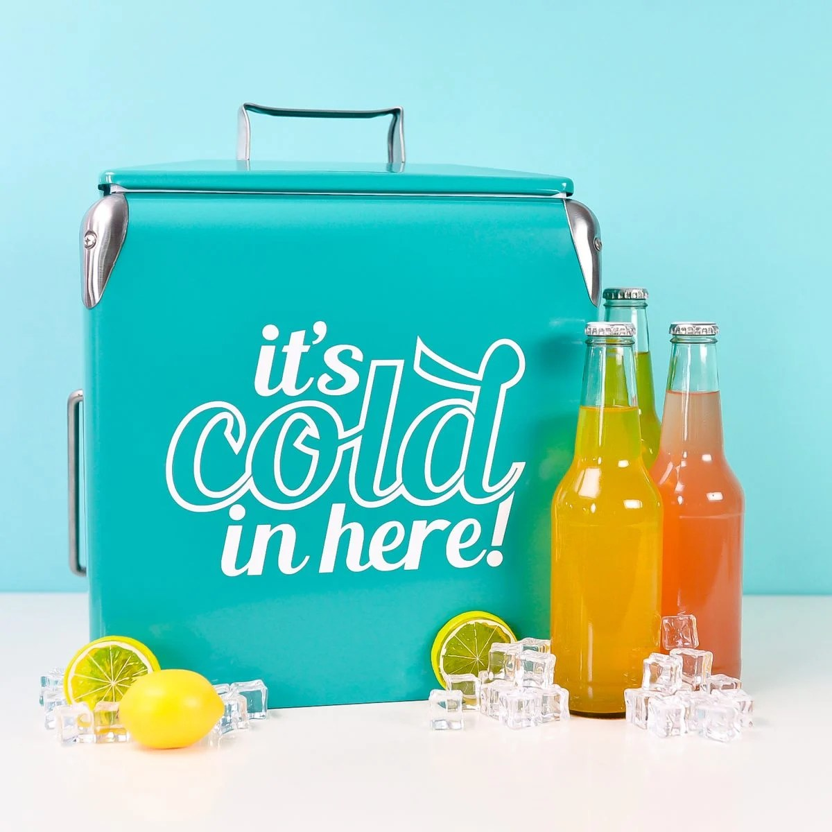 Final ice cooler, staged with drinks and fake ice
