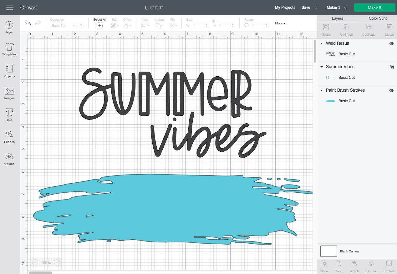 Cricut Design Space: Weld Summer and Vibes
