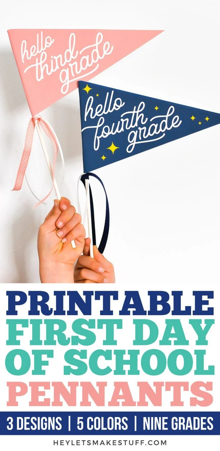 Printable First Day of School Pennants pin image