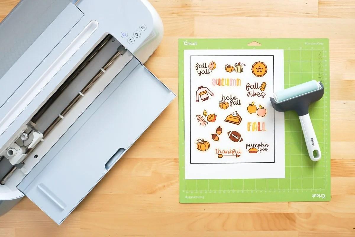 Cricut machine and printed stickers