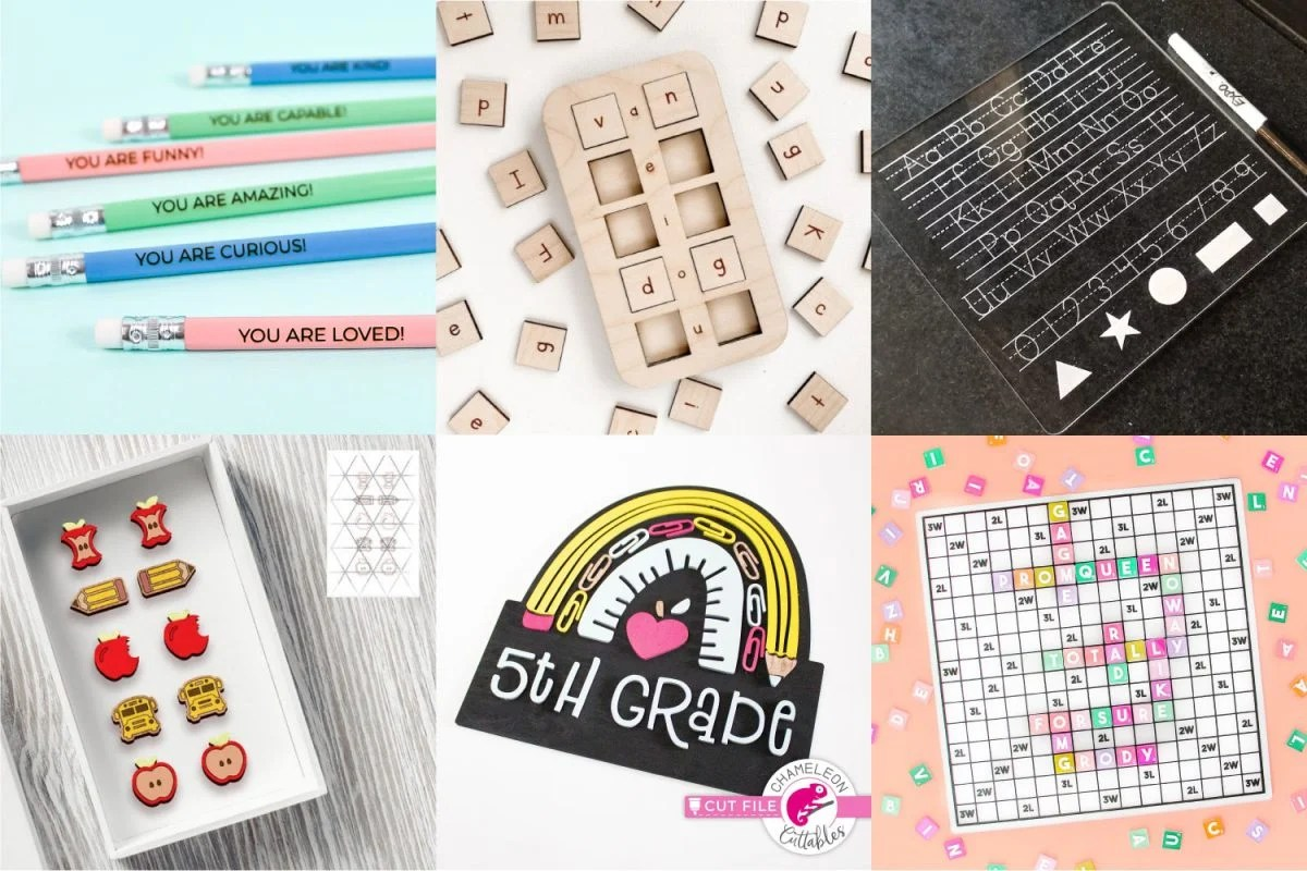 Collage of Glowforge School Projects