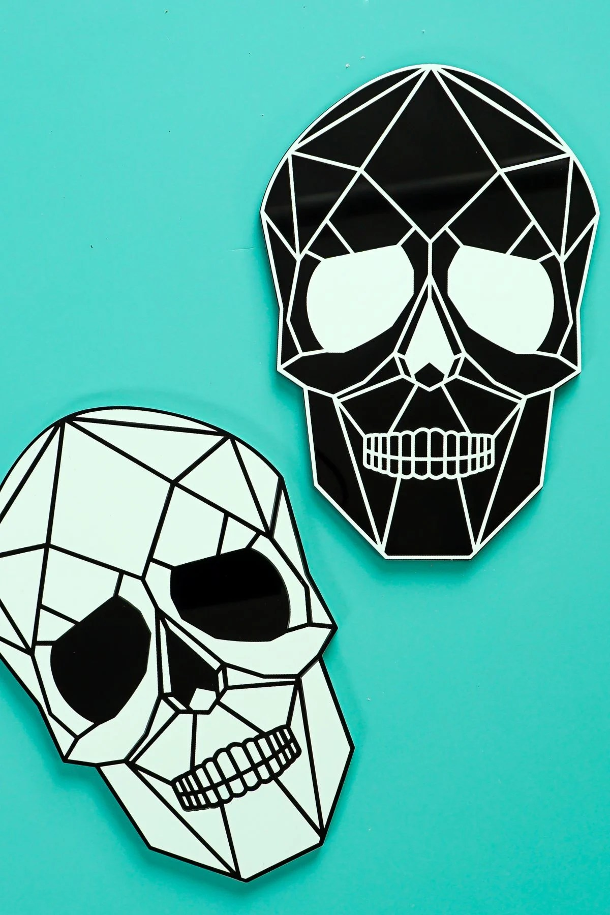 Two skulls on teal background