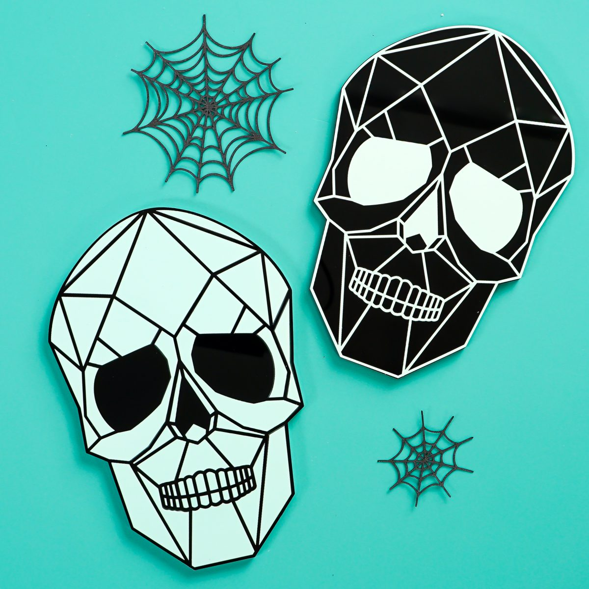 Two skulls on teal background with spider webs