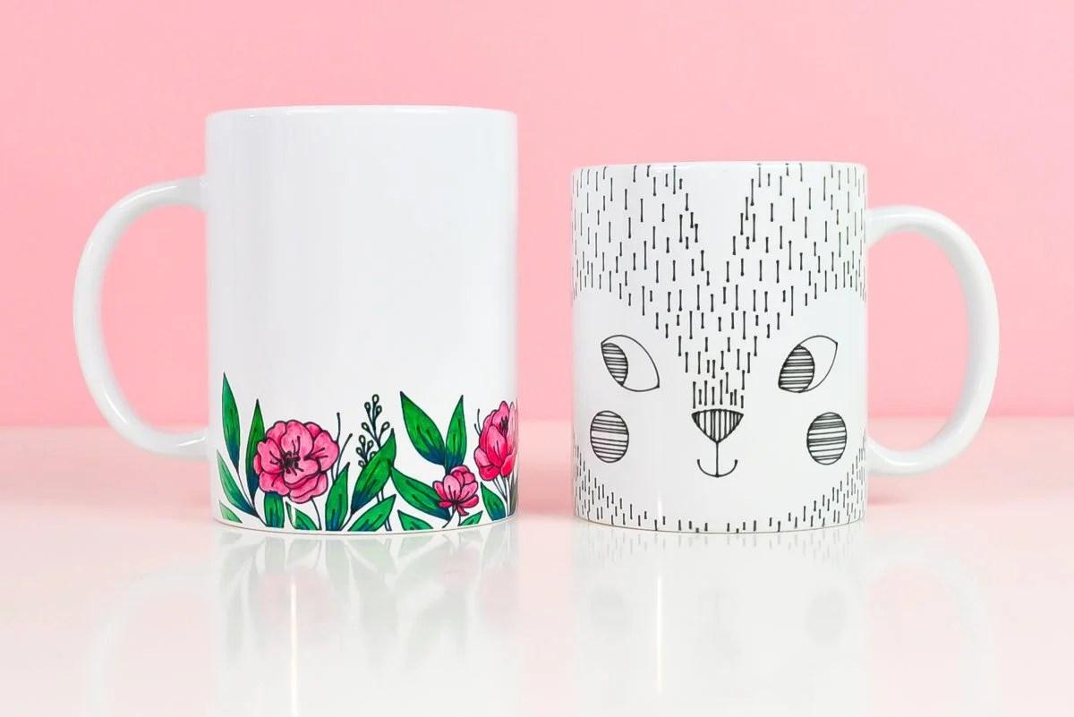 Final mugs using pens on pink background