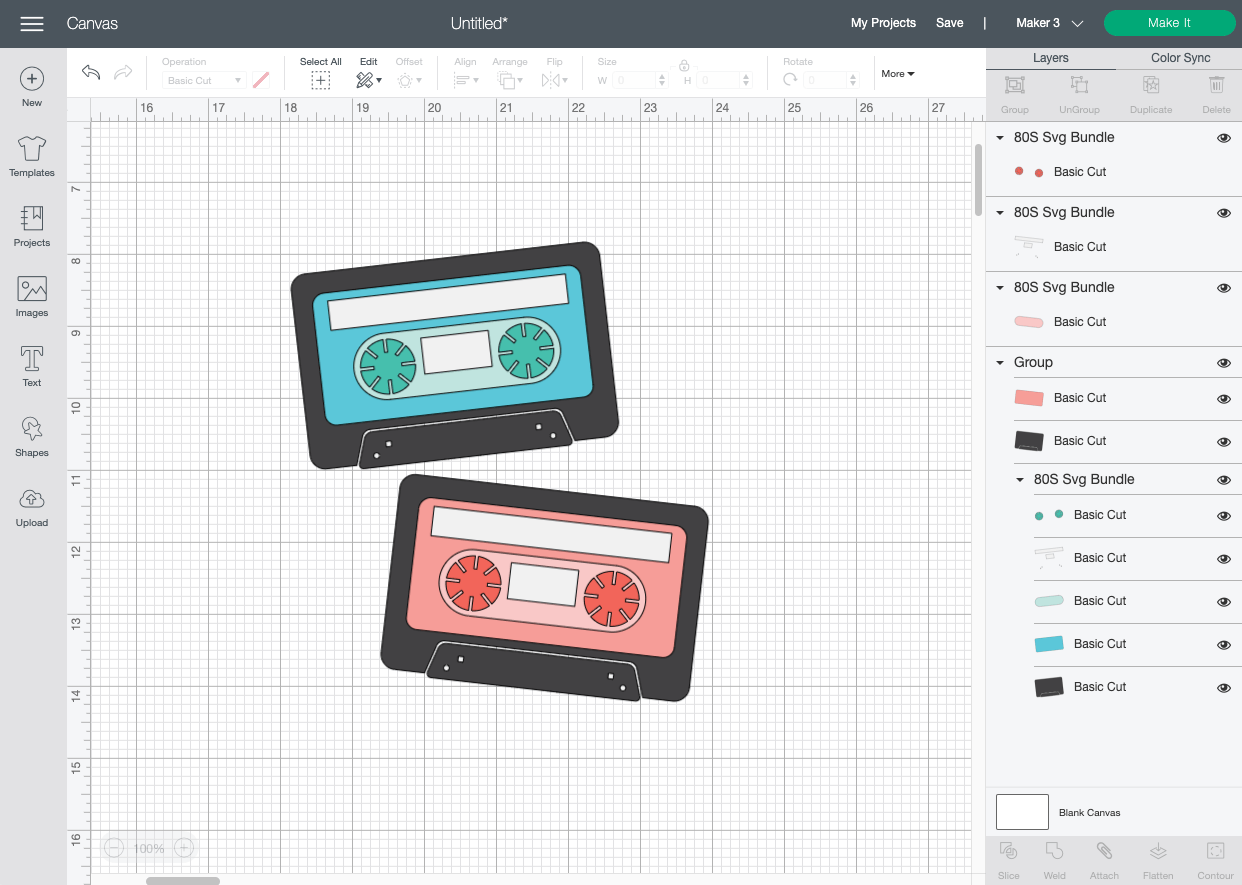 Cricut Design Space: Mix Tape SVG uploaded to Canvas