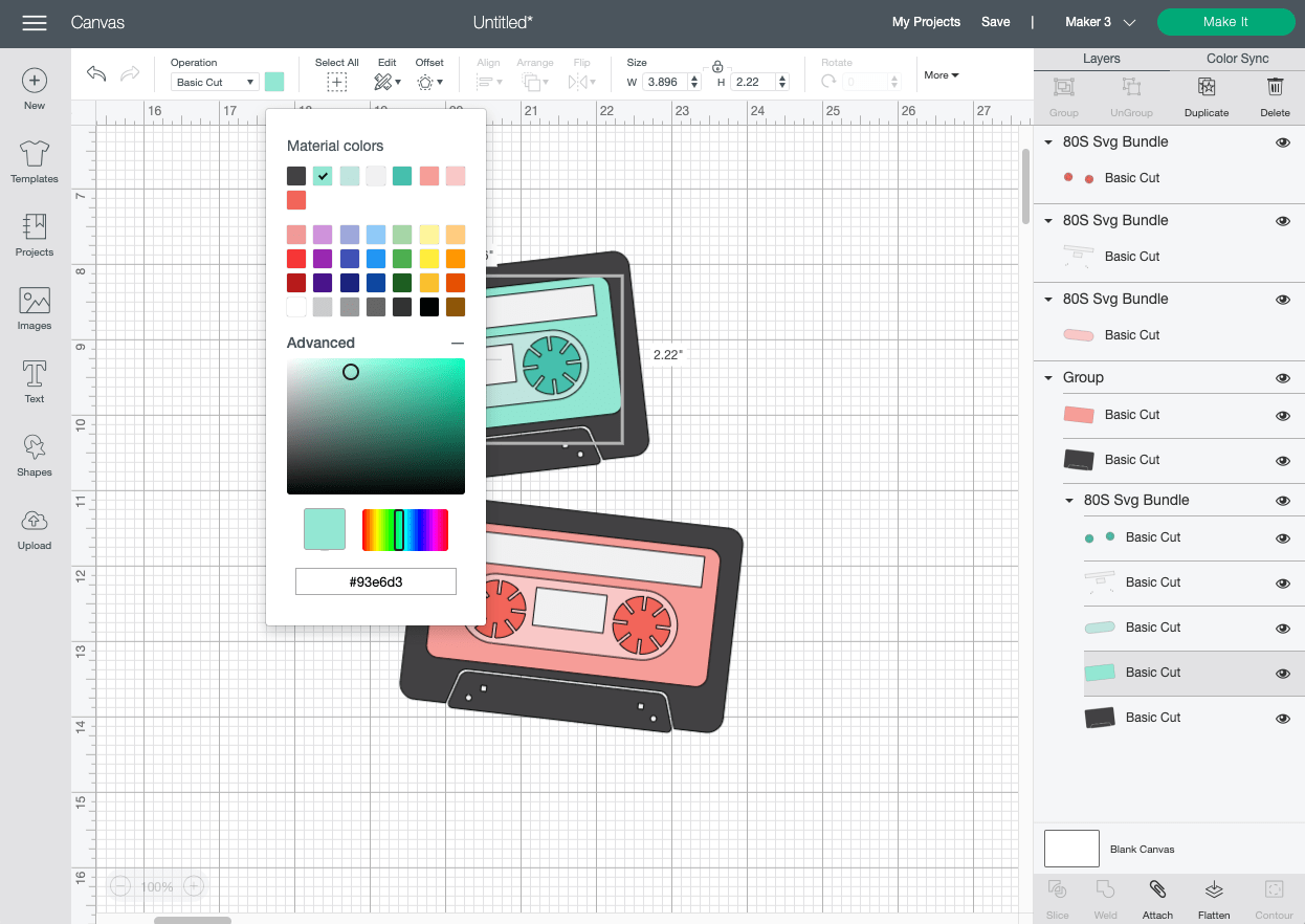 Cricut Design Space: Changing the color of the mix tapes