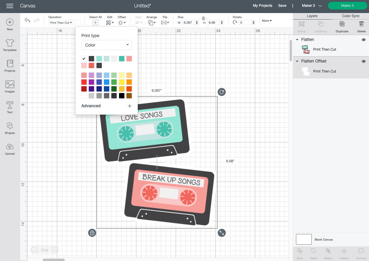 Cricut Design Space: Changing the color of the offset.