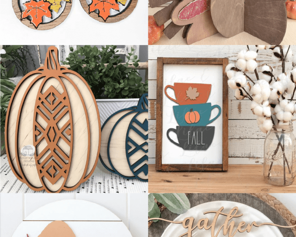 Collage of Glowforge Projects for Fall and Thanksgiving