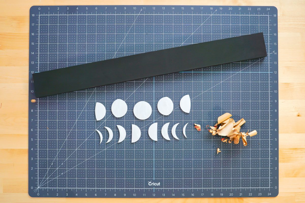 Moon phases with masking removed on worktable.