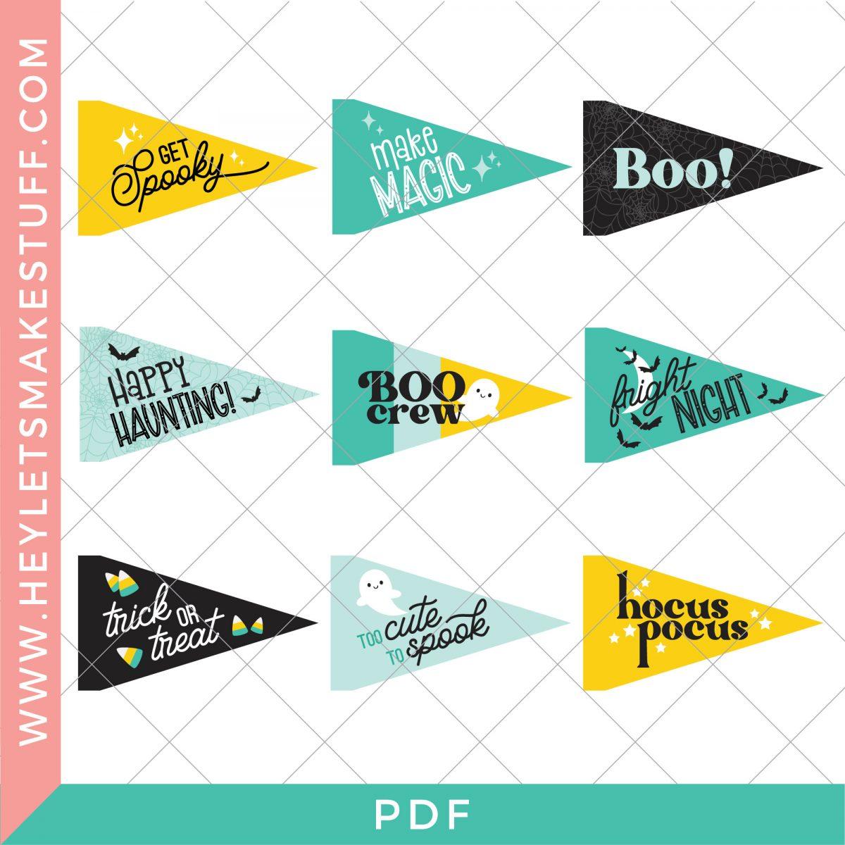 Teal Halloween pennant flag pdf image