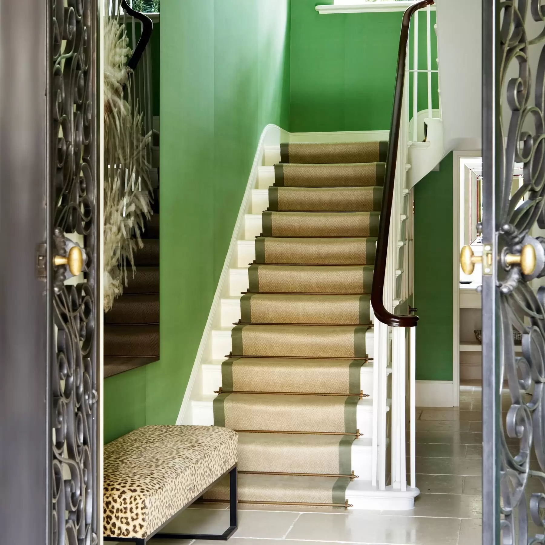 Stylish Stair Runner Carpet Ideas House Garden   Patterned Carpet For Stairs And Landing   Carpeting   Middle Open Concept   Diamond Uk Pattern   Striped Stair Carpet Entrance   Victorian Style