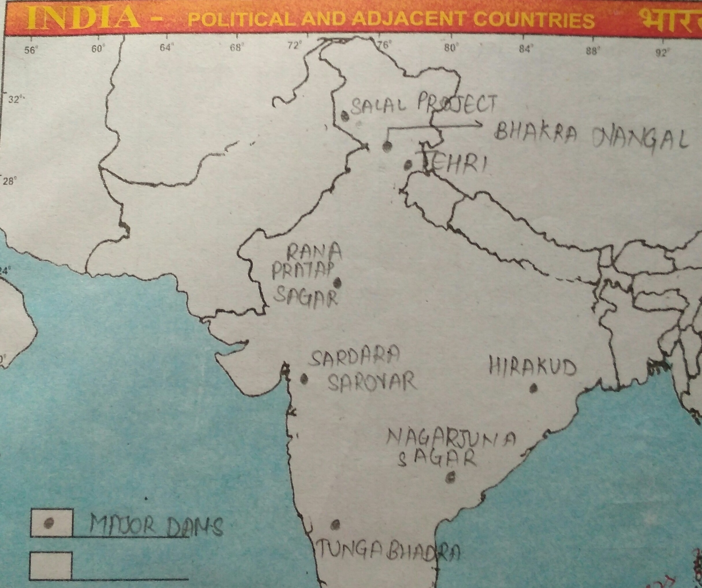 Locate all the main dams of india on a political map of india     Download jpg