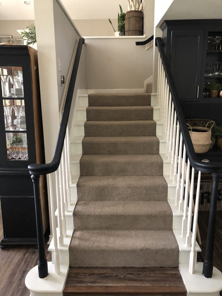 How To Update Carpeted Stairs With Paint Hip Humble Style   Cutting Carpet For Stairs   Carpet Runner   Wood   Stair Nosing   Landing   Underlay