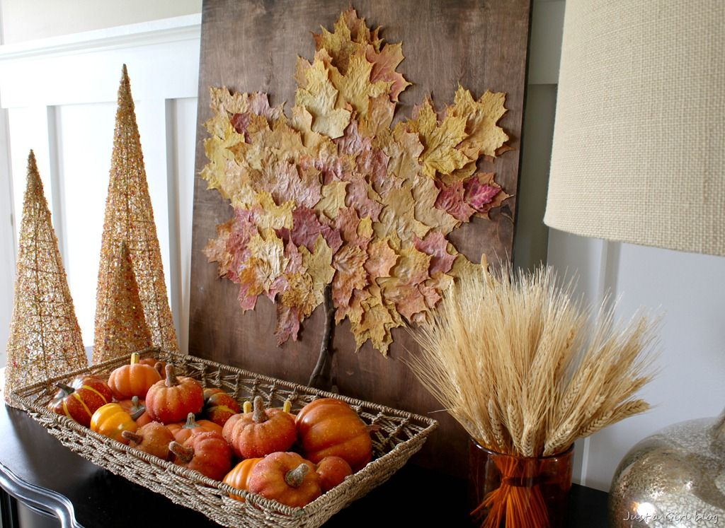 55 Easy Fall Decorating Ideas   Autumn Decor Tips to Try fall decorating ideas   leaf art