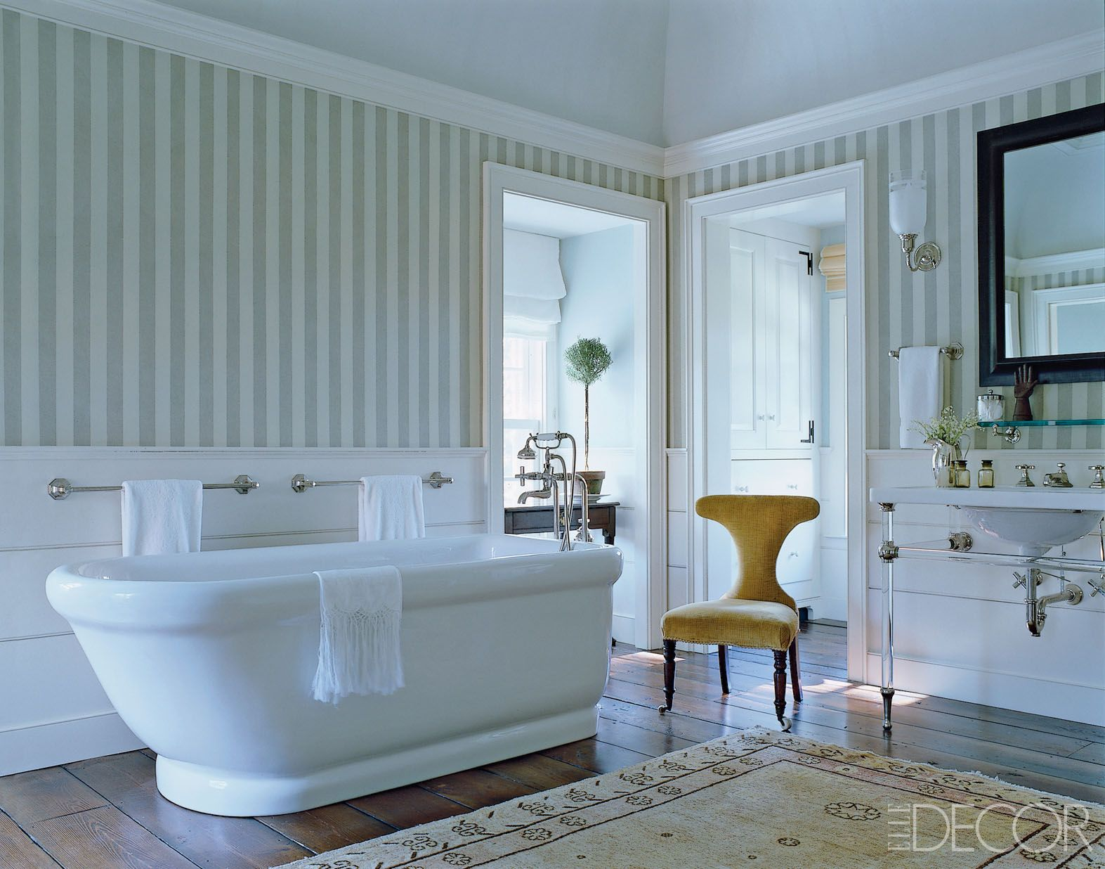 15 Bathroom Wallpaper Ideas   Wall Coverings for Bathrooms   Elle Decor The bathroom s sink and bath fittings and tub are by Michael S  Smith for  Kallista  the custom made washstand is by Urban Archaeology  the wallpaper  is by