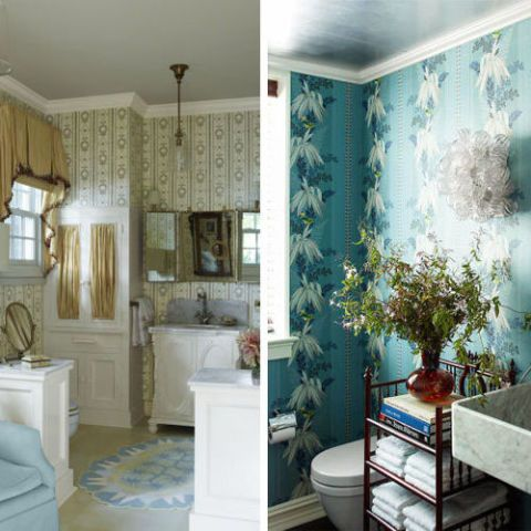 15 Bathroom Wallpaper Ideas   Wall Coverings for Bathrooms   Elle Decor image