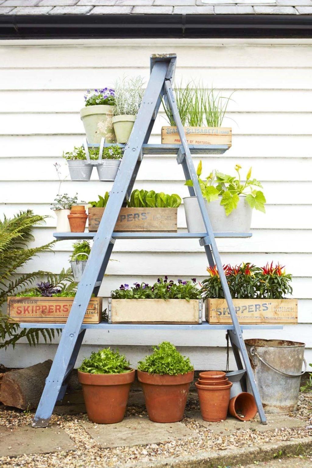16 Container Gardening Ideas Potted Plant Ideas We Love | Outdoor Garden Under Stairs | Small | Crosstie | Gardening | Landscaping | Lawn