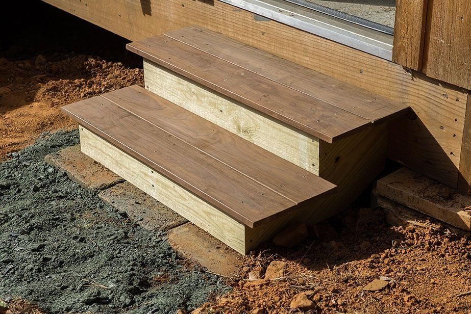 How To Build Steps Into Any Building   Diy Outdoor Wooden Steps   Grass Sl*P*   Backyard   Wood Entry   Corner Deck   Landscaped