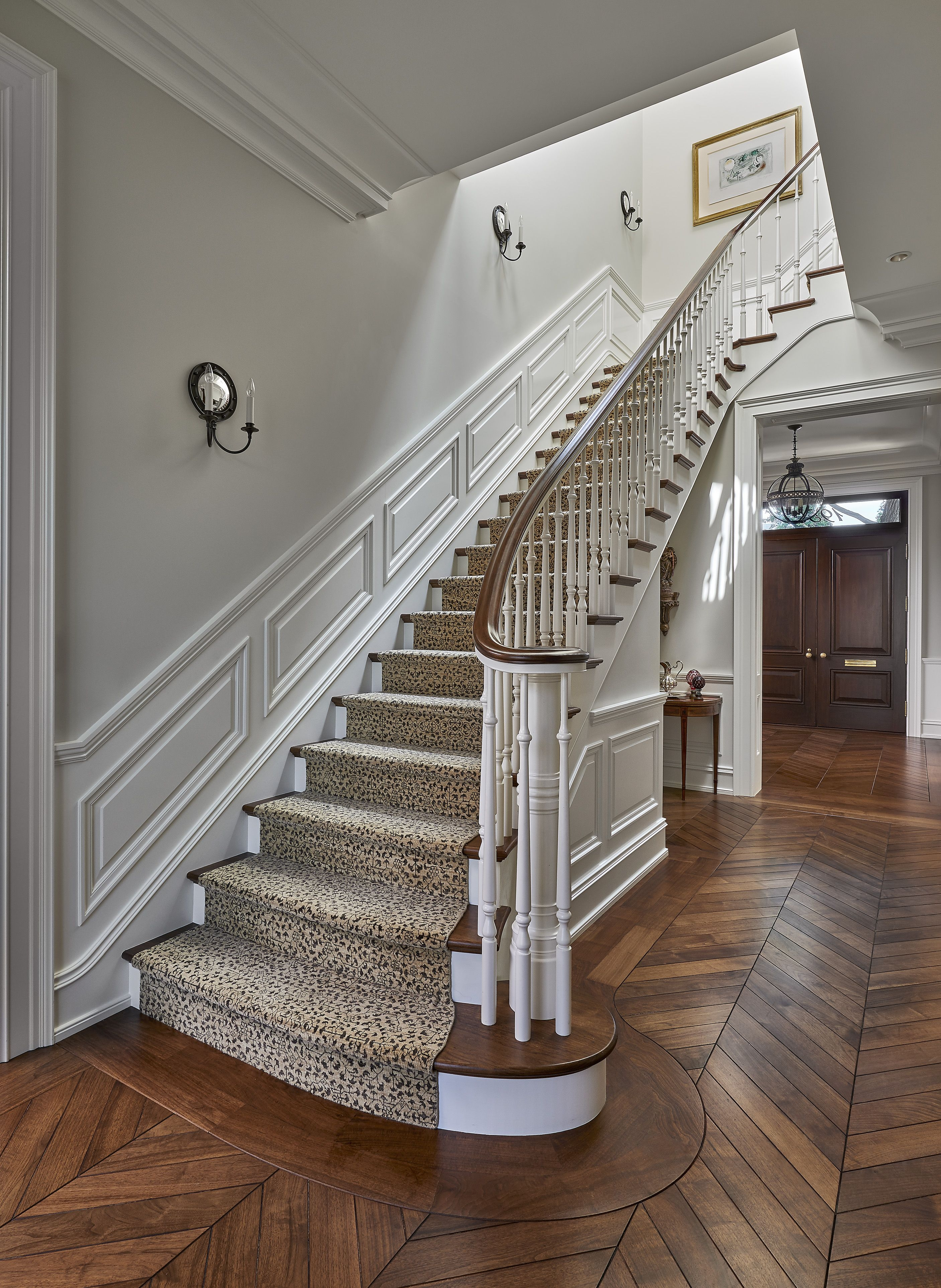 25 Stunning Carpeted Staircase Ideas Most Beautiful Staircase | Printed Carpet For Stairs | High Traffic | Gray | Karastan Patterned | Georgian | Middle Open Concept