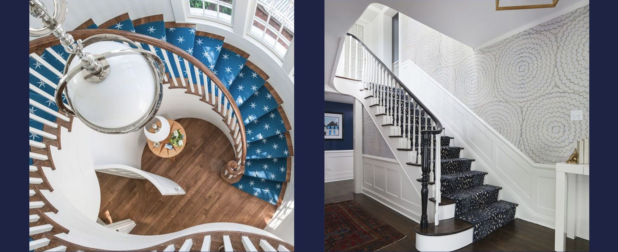 25 Stunning Carpeted Staircase Ideas Most Beautiful Staircase | Navy Carpet On Stairs | Wooden | Loop Pile | Wall To Wall Carpet | Dark Blue | Geometric
