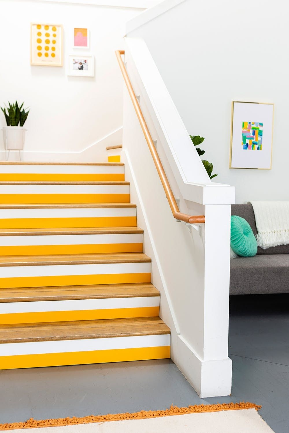 25 Pretty Painted Stair Ideas Creative Ways To Paint A Staircase | Wood And Painted Stairs | Diy | Before And After | Striped | Refinish | Oak