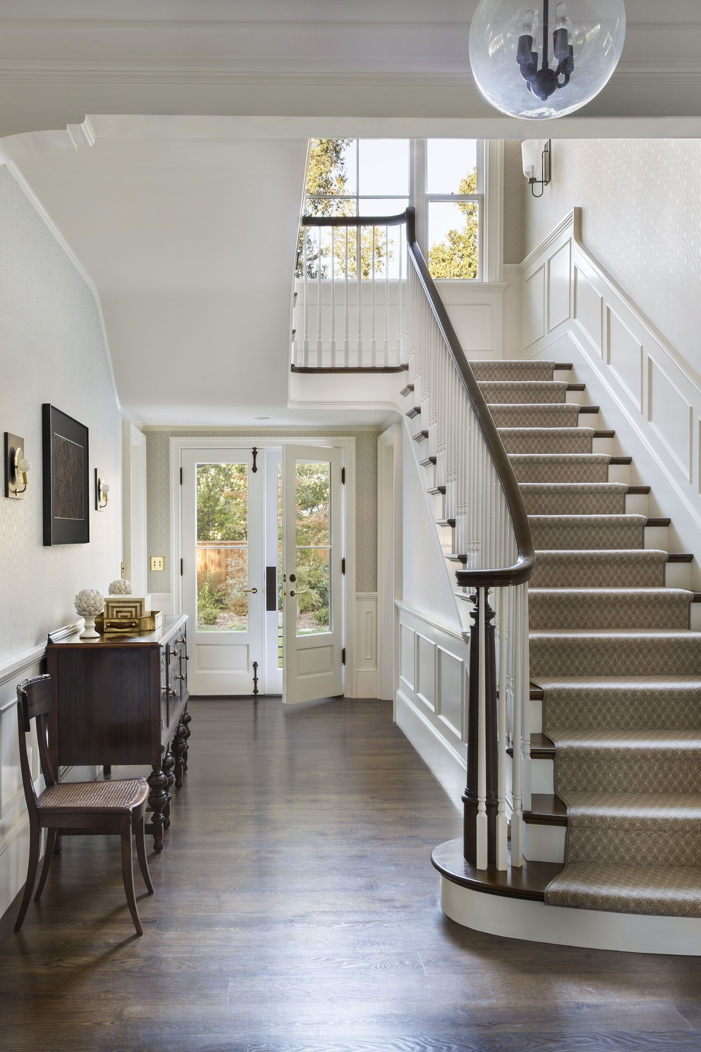 25 Stunning Carpeted Staircase Ideas Most Beautiful Staircase | Hall Stairs And Landing Carpet | Stair Landing 1028 1028 | Staircase | Grey | White | Pinstripe Grey