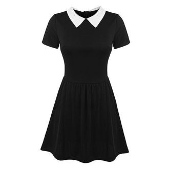 14 Best Wednesday Addams Costume Ideas for 2018   Wednesday Addams     POGTMM Short Sleeve Peter Pan Collar Dress