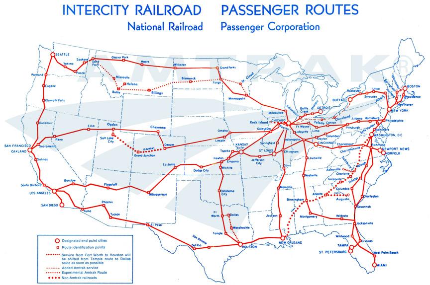 East Coast Amtrak Train Route Map