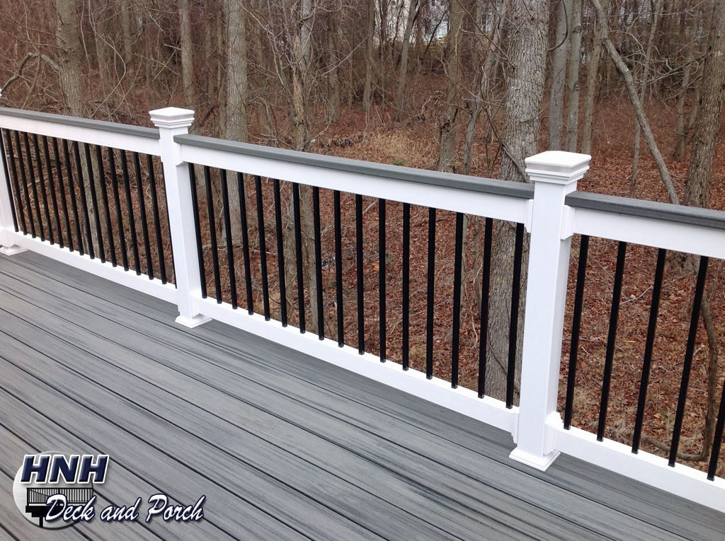 Deck Railing Gallery Hnh Deck And Porch Llc 443 324 5217 | White Railing Black Spindles | Paint | Wrought Iron | Porch Railing | Iron Balusters | Aluminum Balusters