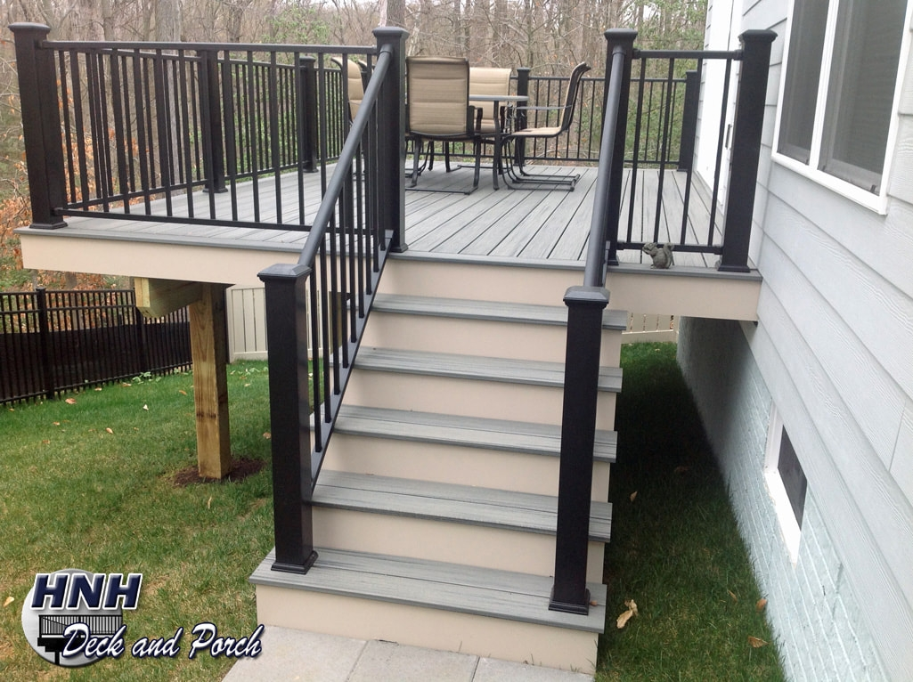 Deck Steps Gallery Hnh Deck And Porch Llc 443 324 5217 | Aluminum Railings For Front Steps | Budget Porch | Concrete | Construction | Wood | Modern